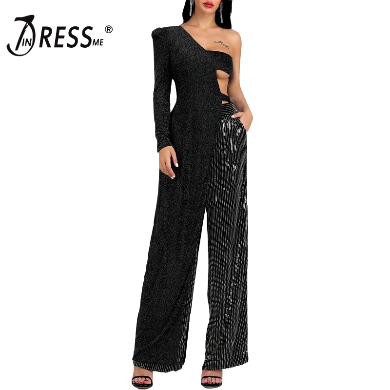 INDRESSME 2019 New Fashion Sexy 2 Two-Piece Sets One Shoulder Hollow Out Long Crop Top Sequined Loose Pants Women Party Jumpsuit