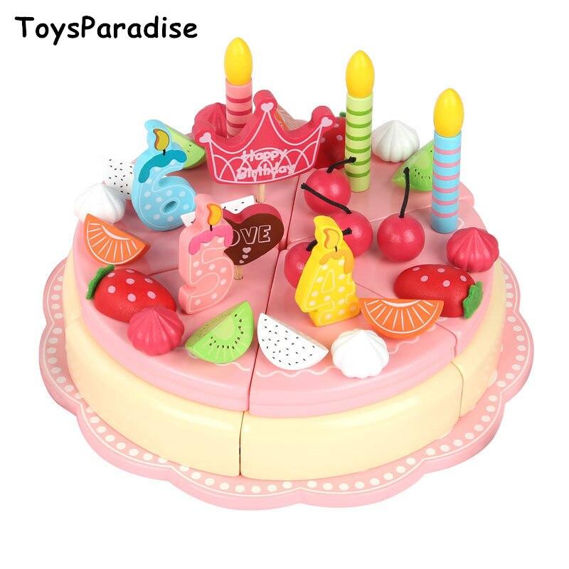Livraison directe nouveau rose fraise Simulation crème glacée coupe ensemble jouets en bois pour enfants anniversaire gâteau enfants cadeau éducatif