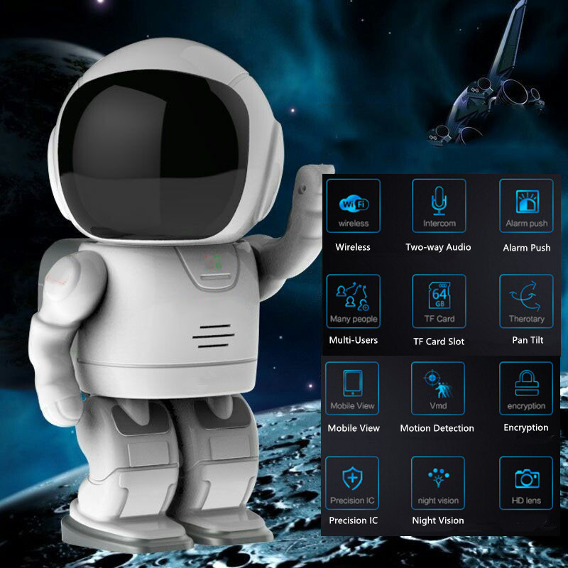 HQCAM 1080P Astronaut Robot Camera IP Wifi Wireless P2P Security Surveillance Night Vision IR Home Security Robot Baby Monitor|Surveillance Cameras| |  - title=