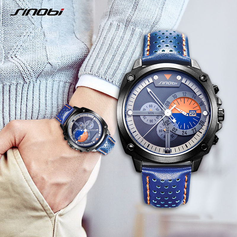 SINOBI Mens Watches Top Luxury Brand Waterproof Sports Wrist Watch Chronograph Quartz Military Genuine Leather Relogio Masculino-in Quartz Watches from Watches
