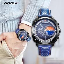 SINOBI Mens Watches Top Luxury Brand Waterproof Sports Wrist Watch Chronograph Quartz Military Genuine Leather Relogio Masculino цена 2017