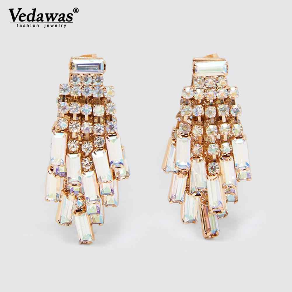 Vedawas ZA Oorbellen Crystal Pendientes 2019 Sparkly Statement Drop Dangle Earrings for Women Wedding Party Gifts Jewelry xg3296