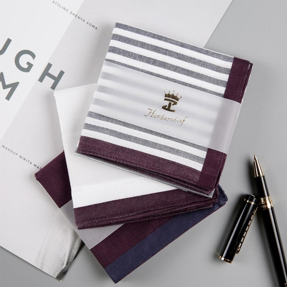 New Men Square Stripe Cotton Sweat Handkerchiefs Men's Classic Pattern Vintage Pocket Hanky Hand Towel Gifts 43*43cm