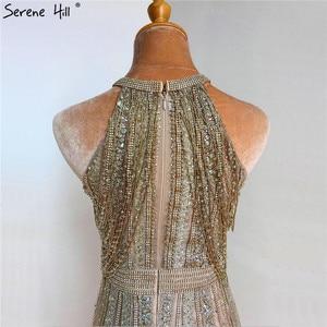 Image 5 - Dubaj złoto bez rękawów Sexy line suknie wieczorowe 2020 diamentowe koralikowe frędzelki formalna sukienka Serene Hill LA70357