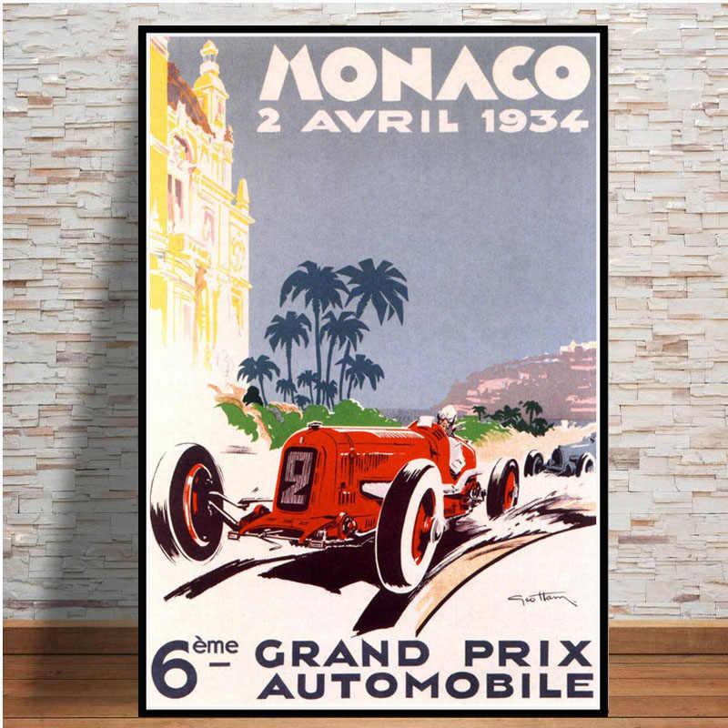 גרנד פרי סופר מרוצי מכוניות רטרו 2006 מונקו מירוץ 64th מנוע פוסטר קיר אמנות בד קיר תמונת ציור עבור חדר בית תפאורה