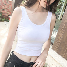 Plain color tank top women short crop summer sport sleeveless slim undershirt sexy strap