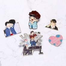 Love Yourself брошь блестящее сердце Металлическая Булавка Kpop Bangtan мальчики коллекция булавок мультфильм значок Подарочные ювелирные броши
