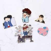 Amor a si mesmo broche bling coração metal pino kpop bangtan meninos pinos coleção dos desenhos animados emblema broches jóias presentes
