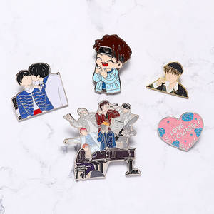 Pins Collection Brooch Jewelry Metal-Pin Gifts Cartoon-Badge Heart Boys Kpop Bangtan