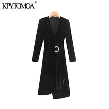 Vintage Elegant Jeweled Sashes Velvet Wrap Knee Dress Women 2019 Fashion V Neck Long Sleeve Female Dresses Vestidos Mujer(China)