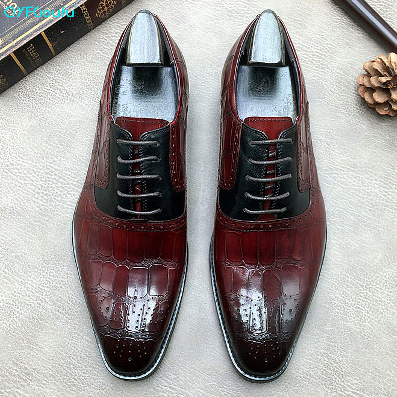 Men/'s Crocodile Alligator Print Square Toe Dress Formal Slip On Oxfords Shoes