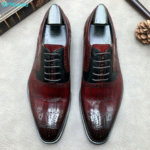 QYFCIOUFU Mens Brogues Shoes Genuine Leather Oxfords Alligator Skin Dress Shoes Business Formal Gents Suit Shoes Wine Red Black