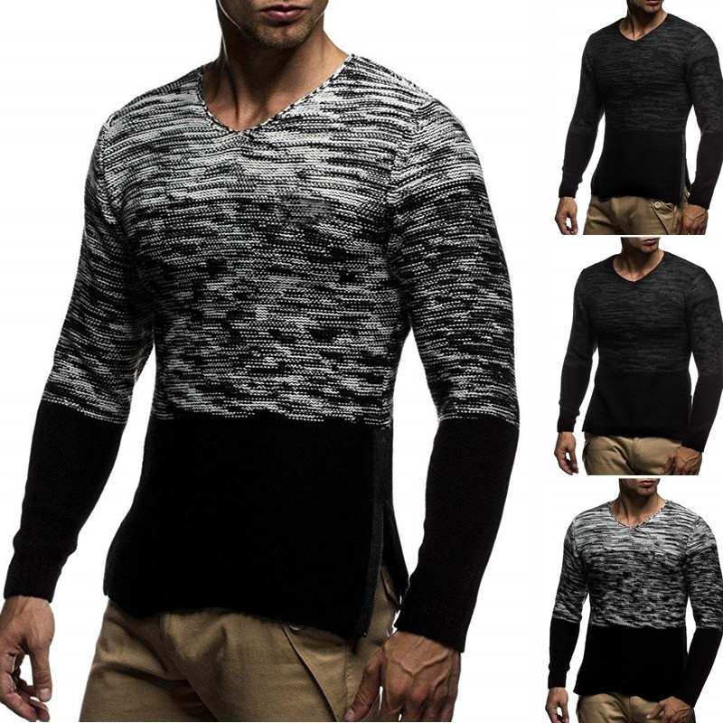 ZOGAA 2019 Autumn Casual Men's Sweater O-Neck Striped Slim Fit Knittwear Mens Sweaters Pullovers Pullover Men Pull Homme M-5XL