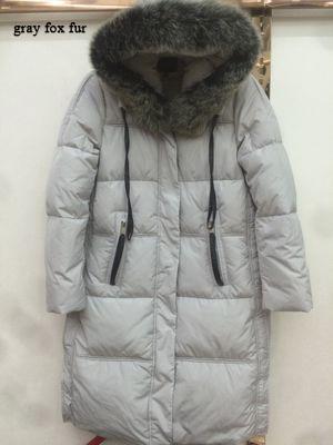 Hot Sale European Amtumn Winter Duck Dowm Jacket Female Parka 2020 New Long Thick Raccoon Fox Fur Abrigos Mujer LX1009