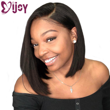 Lace Wigs Human-Hair-Wigs Side-Part IJOY Natural-Black Short Transparent Straight Brazilian