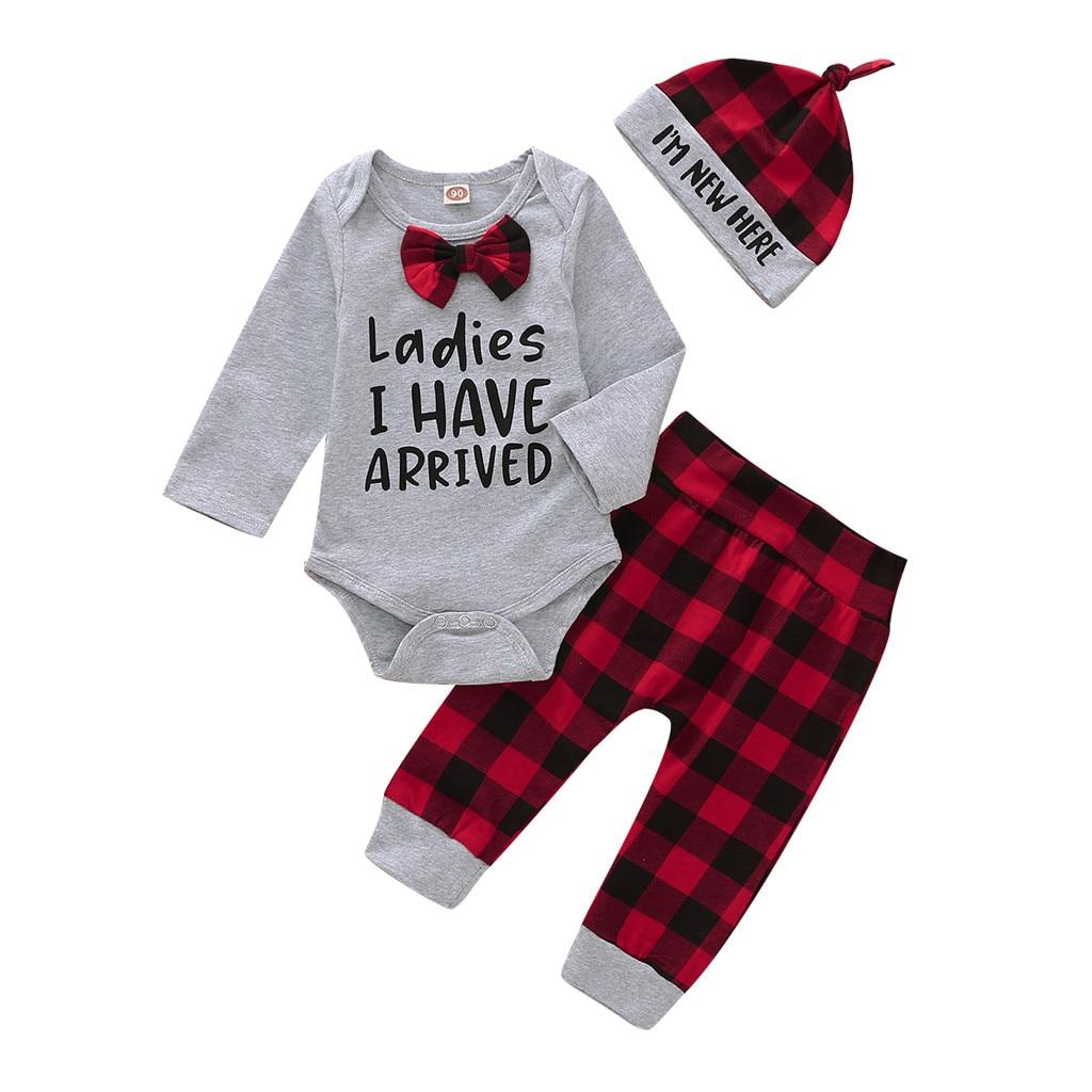Newborn Infant Baby Boys Gentleman Letter Romper Bodysuit Plaid Pants Hat Outfit Fashion Long Sleeve O-neck Newborn Clothes