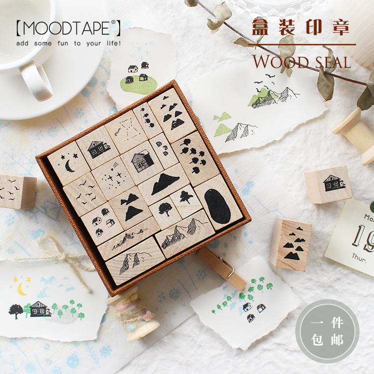 Moodtape Vintage Paper Boxes Wood Clear Stamp For DIY Scrapbooking/photo Album Decorative Stamp Wave Point Rubber Stamp Seal