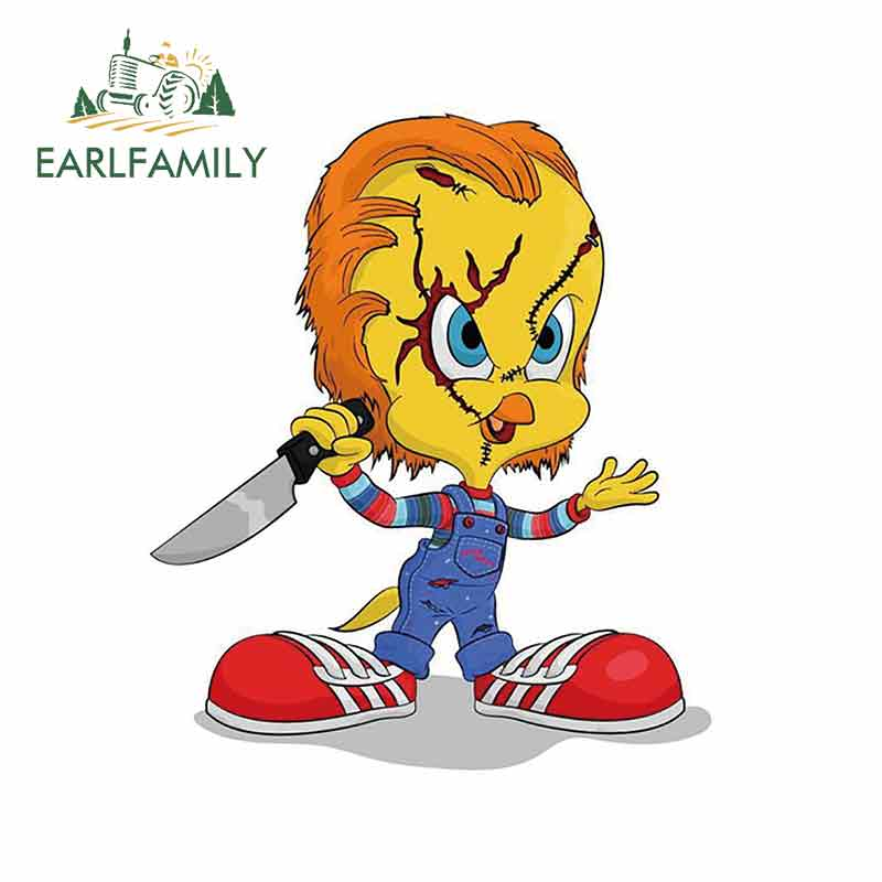 EARLFAMILY 13cm X 11cm For Tweety As Chucky Car Stickers And Decals Vinyl Car Sticker Waterproof Creative Scratch-proof Decor