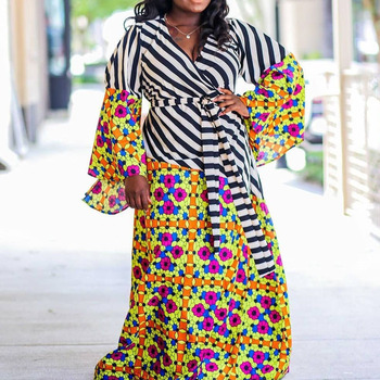 Plus Size 5xl African Patchwork Long Dress Striped Floral Printed A Line Maxi Dresses Robe 2020 Flare Sleeve Female Vestiods plus trumpet sleeve flare floral dress