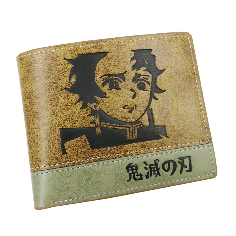 Anime Demon Slayer: Kimetsu No Yaiba Short PU Leather Wallet Kamado Tanjirou Bifold Purse For Men And Women