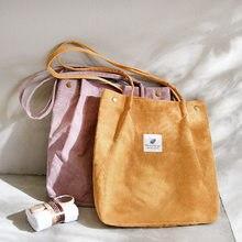 Sac de shopping en velours côtelé pour femme, sacoche à bandoulière en toile, fourre-tout de rangement écologique, accessoire réutilisable et pliable