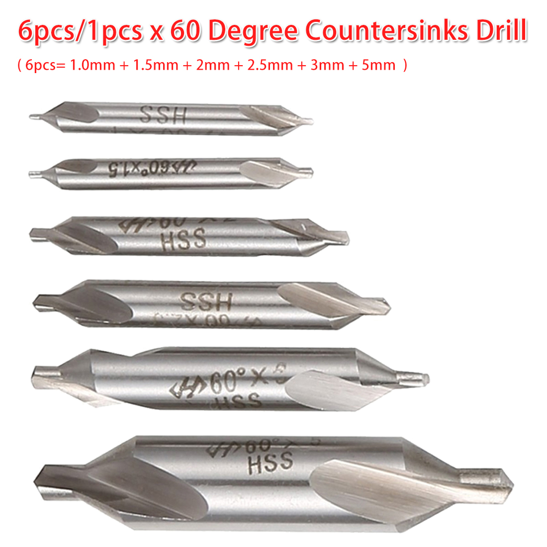 Combined Center Drill Bit 6pcs/1pcs HSS 60 Degree Countersink Drill 1.0mm 1.5mm 2mm 2.5mm 3mm 5mm For Bodhi Rosary/ Woodwork