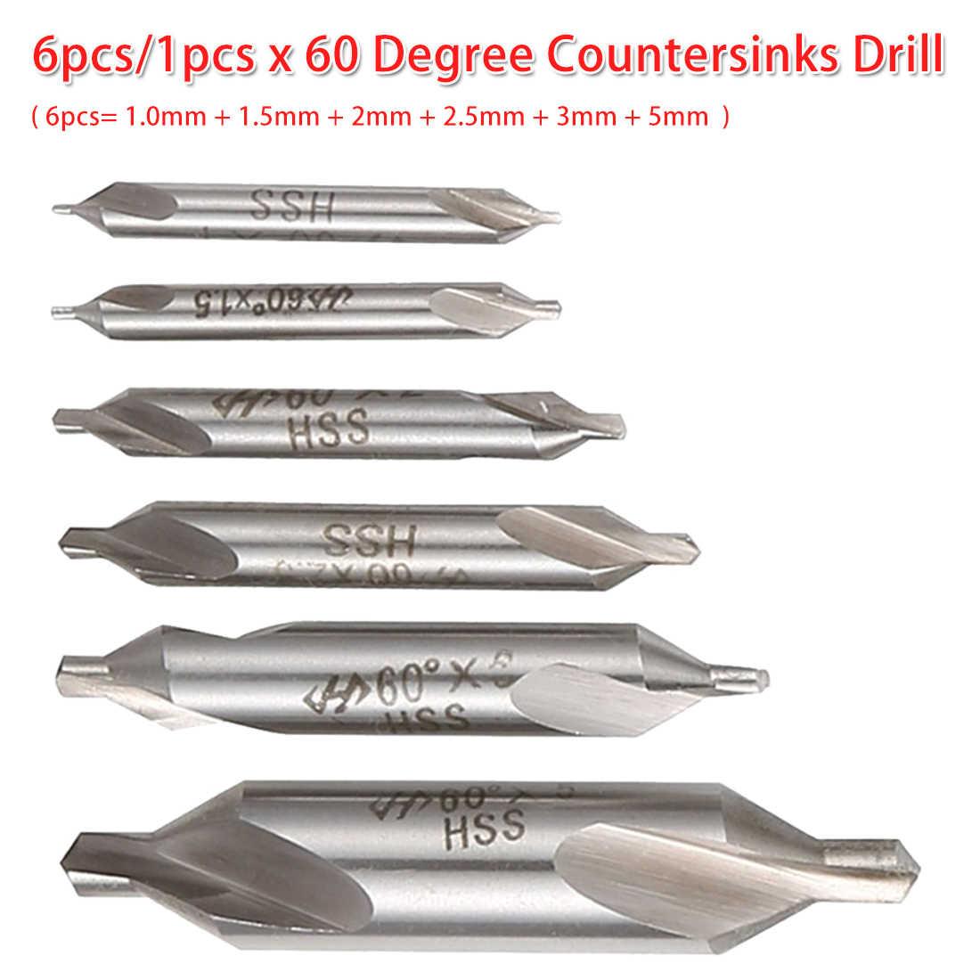 Foret central combiné 6 pièces/1 pièces HSS 60 degrés fraise 1.0mm 1.5mm 2mm 2.5mm 3mm 5mm pour chapelet/boiserie Bodhi