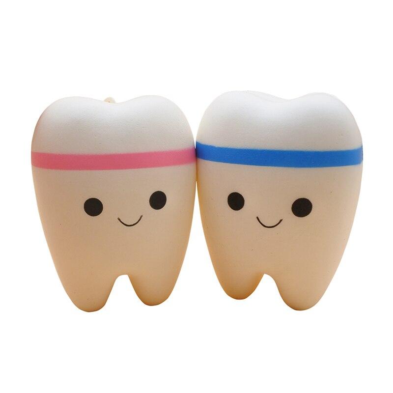 Big Kawaii Cartoon Pink Tooth Cake PU Squishy Antistress Toys Jumbo Soft Teeth Squishy Slow Rising Fun Kids Adults Squeeze Toy
