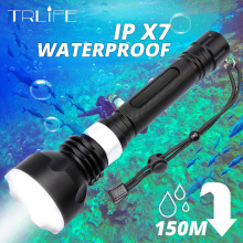 Professional Diving Flashlight XML-T6 L2 Yellow White Portable Scuba Dive torch 150M Underwater IPX7 Waterproof using 18650 xml t6 l2 powerful battery flashlight diving professional portable dive torch underwater illumination waterproof flashlights