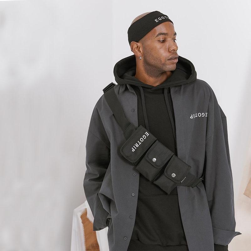 Men Belt Bag Hip-hop Waist Bag Boy Multi Pocket Tactical Waist Pack Male Fanny Pack Fashion Hip-hop Canvas Chest Bags Waterproof