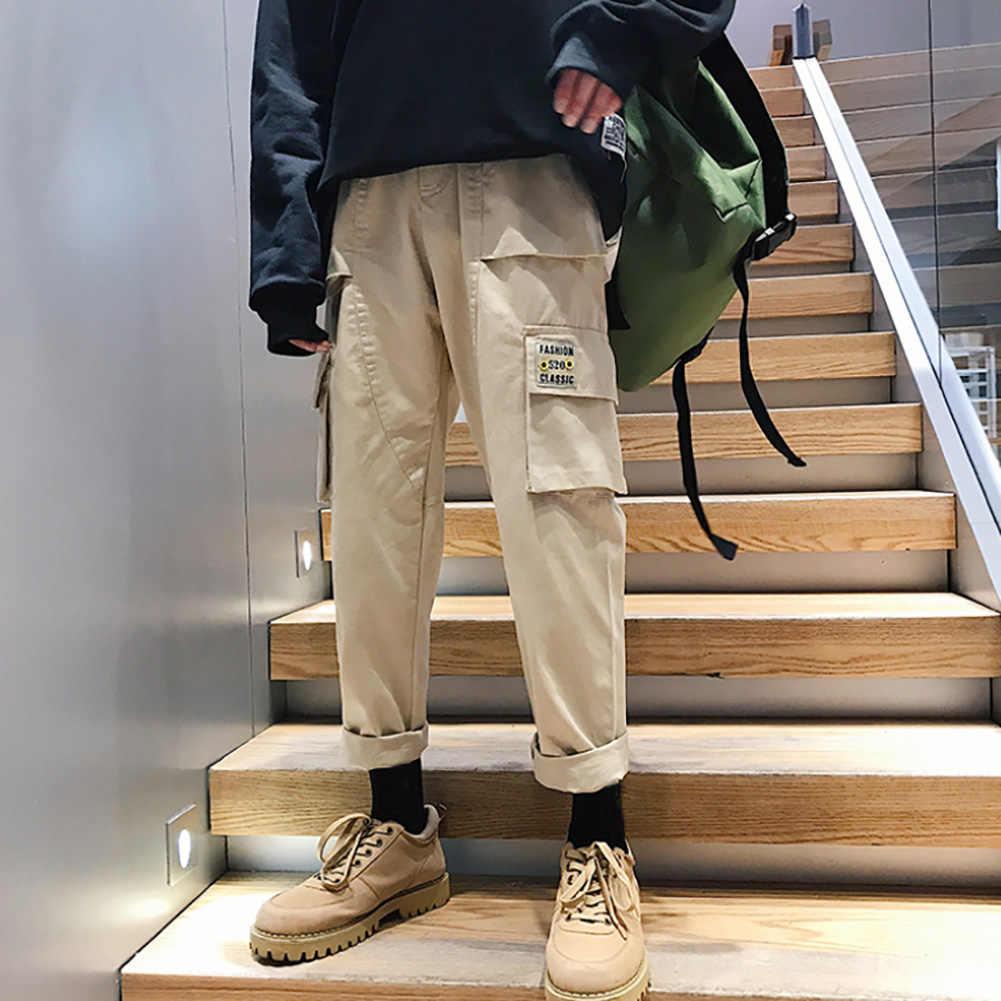 ヒップホップパンツ 2019 男性のカジュアルポケット迷彩ズボンメンズ秋多色スウェットパンツファッションオーバーオールズボン