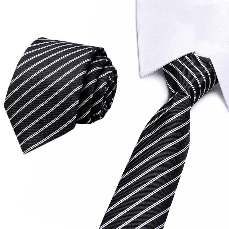 Новые синие 7,5 см полосатые галстуки для мужчин Классические полиэфирные тканые галстуки Роскошные 100% шелковые роскошные свадебные