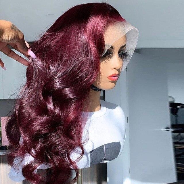 13*6 実体波 1b/99J 色のレースのフロント人間の髪かつら女性のためのオンブルバーガンディレースフロントウィッグかつら事前摘み取らブラジルの remy 毛
