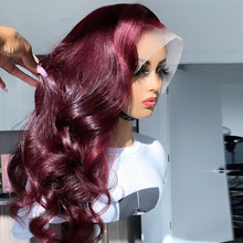 13*6 Body Wave 99J Colored Lace Front Human Hair Wigs for Women Ombre Burgundy Lace Front Wig Pre Plucked Brazilian Remy Hair