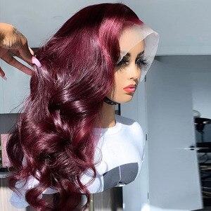 13*6 волнистые человеческие волосы 99J с цветными кружевными передними париками для женщин, бордовый парик с Омбре на кружевной передней части...