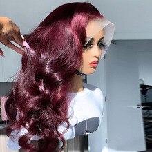 Pelucas de cabello humano con malla frontal para mujer Peluca de cabello Remy brasileño prearrancado con malla frontal de color Ombre Borgoña de 13x6, 99J