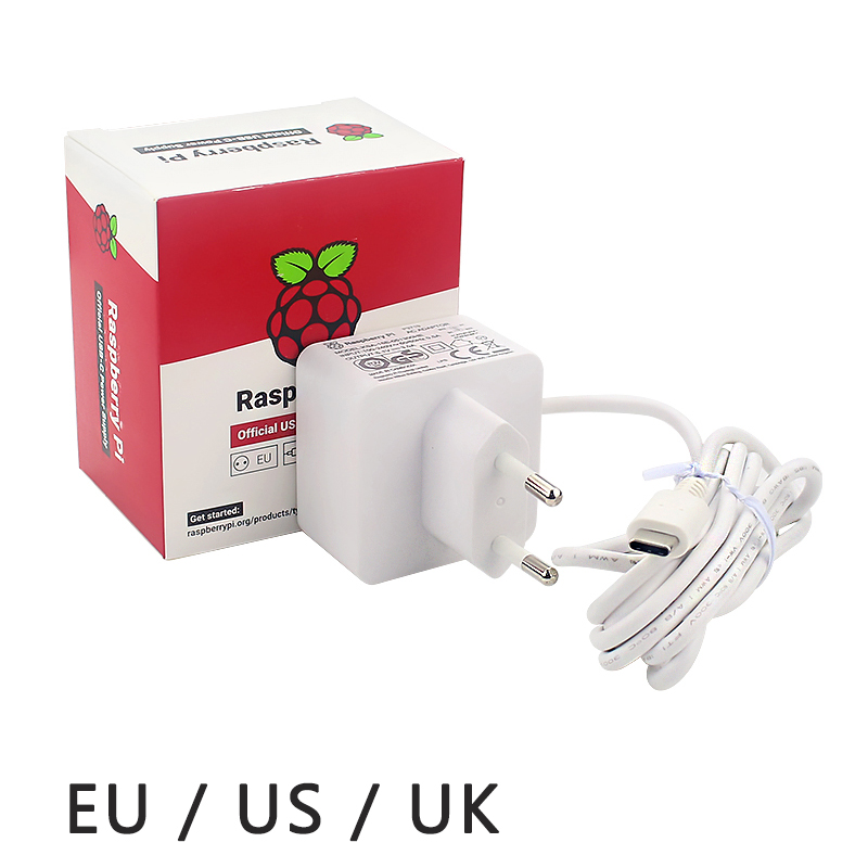 Official Original Raspberry Pi 4 Power Supply 5V 3A  USB-C White Power Charger Power Adapter For Raspberry Pi 4 Model B 1G/2G/4G
