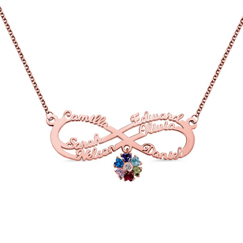 AILIN Custom Name Necklace Personalized Rose Gold Infinity Pendant Necklace Necklaces with Heart Birthstone Women Necklace Gift rose gold color family tree necklace mother s necklace with birthstone grandmas gift custom gift for mother