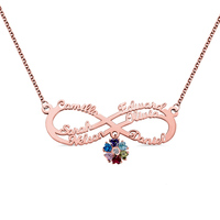 AILIN Custom Name Necklace Personalized Rose Gold Infinity Pendant Necklace Necklaces with Heart Birthstone Women Necklace Gift