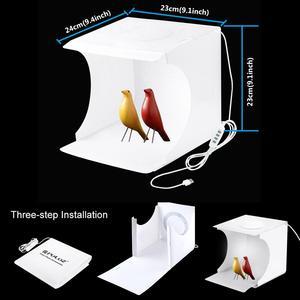 Image 2 - Photo Studio Box 20cm Mini Ring LED Light box folding Lightbox Photography Light Studio Shooting Tent Box Kit  6 Color Backdrops