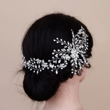 TRiXY H242 Silver Flower Bridal Hair Accessories Wedding Headband Crystal Bridal Hair Vines Bridal Crown Wedding Hair Jewelry