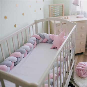 2M/3M/4M Newborn Baby Bed Bumper Plush Knotted Baby Crib Bumper Pillow Toddler Bed Guardrail Nordic Baby Crib Baby Room Decor xisayababy nordic style baby bed bumper colorful baby pillow cushion baby bedding crib protector baby room decoration 200cm