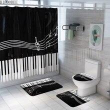 Плесени занавеска для душа Шторы для ванной комнаты с крючками клавиши пианино музыка Ванная комната Декор Нескользящие Коврики для туалет...