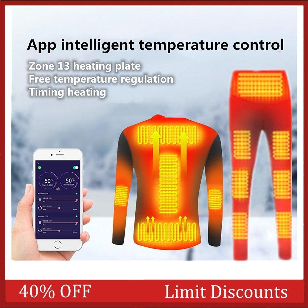 Зимний комплект нижнего белья с подогревом, термотопы с USB-зарядкой и штаны с подогревом, термокуртка для мотоцикла с контролем температуры смартфона