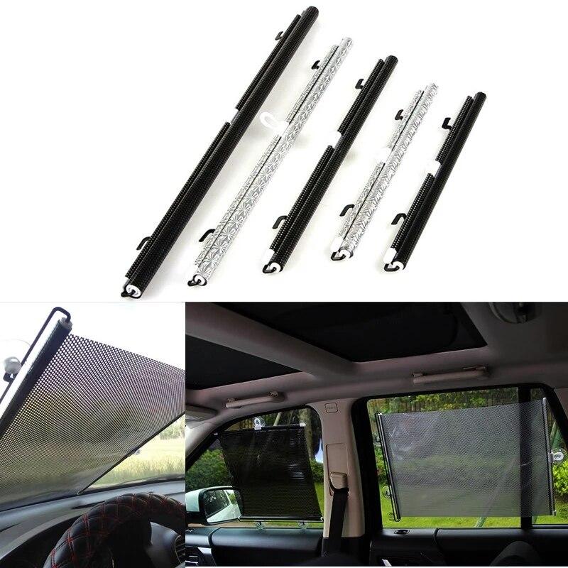 Retractable PVC Car Window Sunshades Auto Front Rear Side Windows Sun Shade Anti-UV Protection Sun Visor Silver /Black