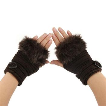 Kobiety ciepłe zimowe rękawiczki bez palców dziewczyny Faux Rabbit Fur nadgarstek wygodne miękkie rękawiczki damskie rękawiczki rekawiczki zimowe A40 tanie i dobre opinie Mnycxen Dla dorosłych WOMEN Faux futra Z wełny Stałe Moda COP-01 leather gloves warm gloves handschoenen guantes eldiven