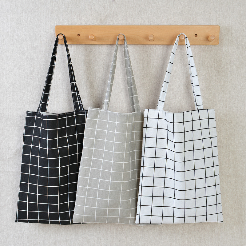 2020 New Durable Women Student Cotton Linen Single Shoulder Bag Shopping Tote Check Plaid Female Flax Canvas Shopping Bags