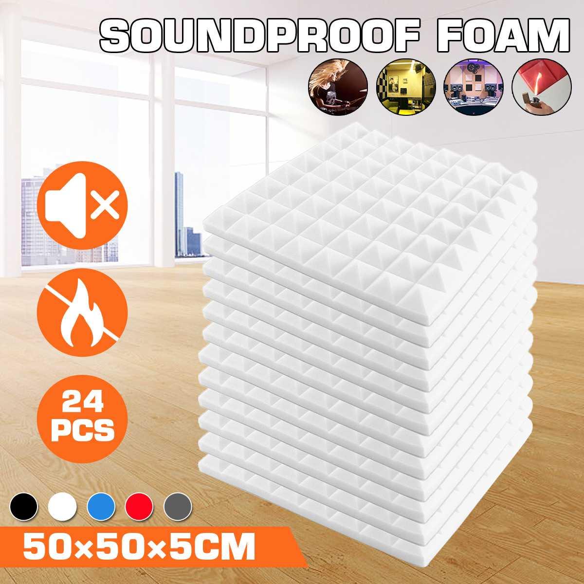 24PCS 50x50x5cm Studio Acoustic Soundproof Foam Sound Absorption Treatment Panel Tile Protective Sponge 6 colors