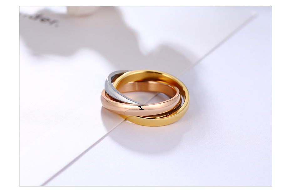 Three Layers Three Color Titanium Ring Size5-9 1