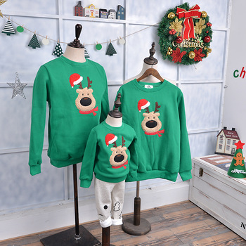 Family Matching Christmas Clothes Xmas Sweatshirt Long Sleeve Embroidery Elk Winter Warm New Year Mom and Daughter Outfits